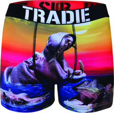 Tradie Men's Harry Hippo Trunk Print S, Print, bcf_hi-res