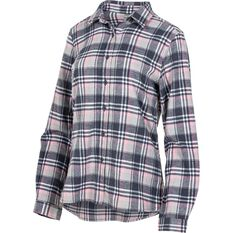 OUTRAK Women's Yarn Dye Flannel Shirt Grey / Pink 8, Grey / Pink, bcf_hi-res