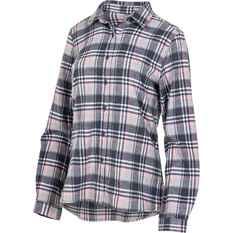 OUTRAK Women's Yarn Dye Flannel Shirt Grey / Pink 10, Grey / Pink, bcf_hi-res