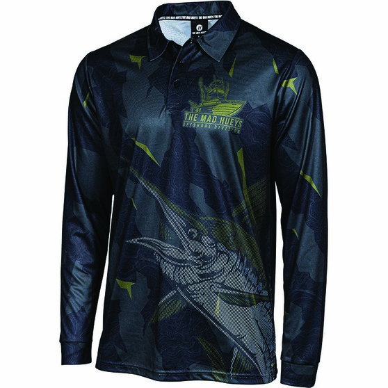 The Mad Hueys Men's Offshore Division Camo Fishing Jersey, Black, bcf_hi-res