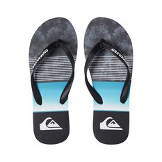 Quiksilver Waterman Men's Molokai Slab Thongs Black / Blue 8, Black / Blue, bcf_hi-res