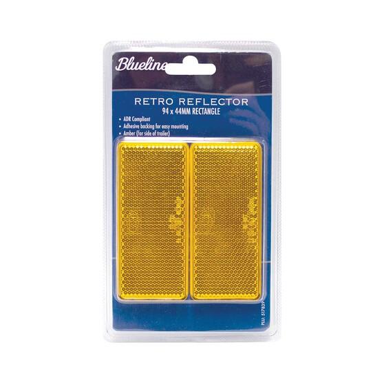 Blueline Trailer Reflectors 94x44mm 2 Pack Amber, , bcf_hi-res