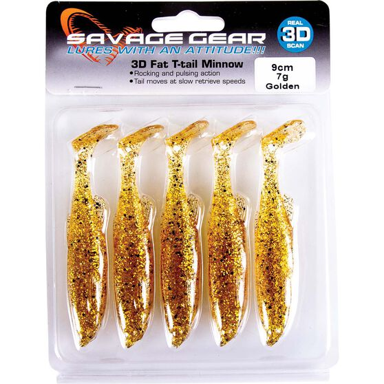 Savage Fat T Tail Soft Plastic Lure 9cm Golden, Golden, bcf_hi-res