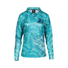The Mad Hueys Women's Camo Fishing Jersey Teal XS, Teal, bcf_hi-res