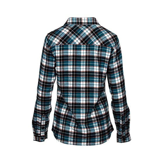 OUTRAK Women's Yarn Dye Flannel Shirt Teal 8, Teal, bcf_hi-res