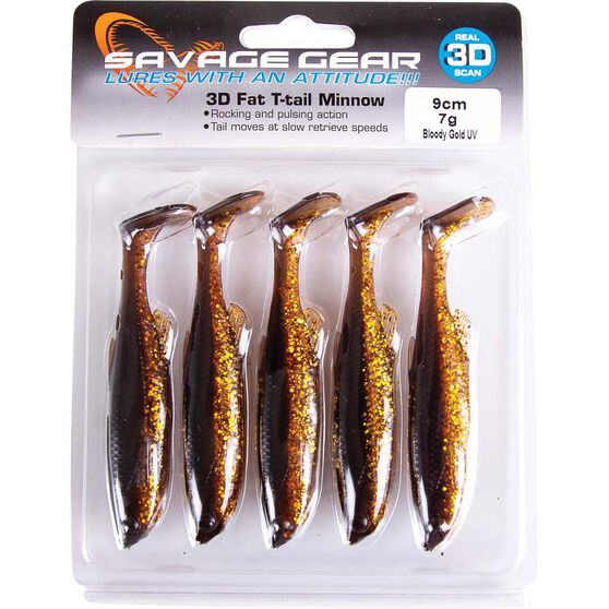 Savage Fat T Tail Soft Plastic Lure 9cm Bloody Gold UV, Bloody Gold UV, bcf_hi-res