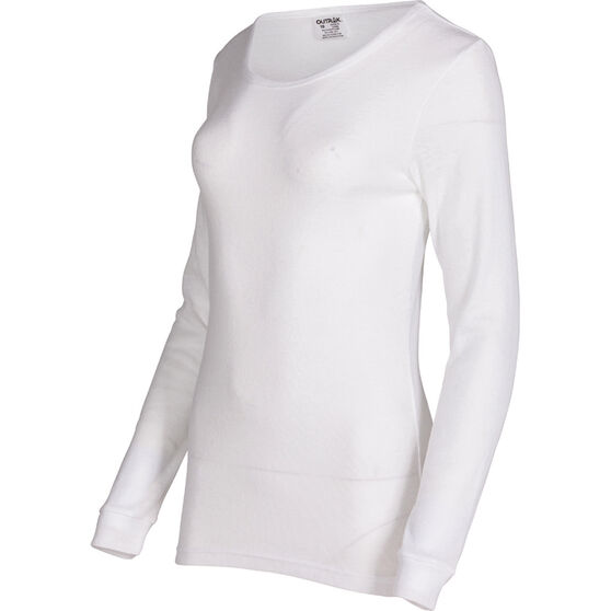 OUTRAK Women's Polypro Long Sleeve Top White 16, White, bcf_hi-res