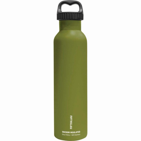 Fifty Fifty Insulated Drink Bottle 750ml Olive, Olive, bcf_hi-res