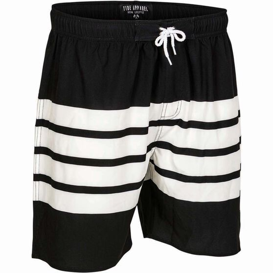 Tide Apparel Men's Stripe Shorts Black / White 38, Black / White, bcf_hi-res