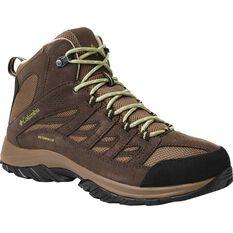 Columbia Men's Crestwood Mid Waterproof Hiking Boots Dark Brown / Cool Moss 8, , bcf_hi-res