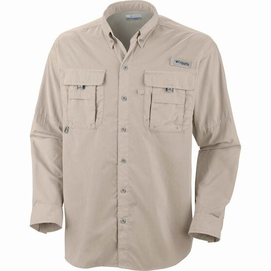 Columbia Men's Bahama II Long Sleeve Fishing Shirt Fossil L Men's, Fossil, bcf_hi-res
