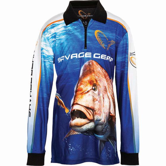 Savage Kids' Snapper Sublimated Polo Blue 16, Blue, bcf_hi-res