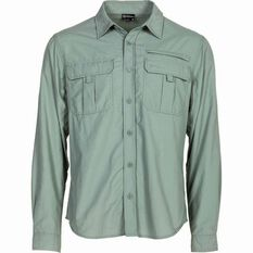 Outdoor Expedition Men's Vented Long Sleeve Shirt Iron M, Iron, bcf_hi-res