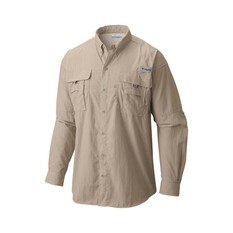 Columbia Men's Bahama II Long Sleeve Fishing Shirt Fossil S Men's, Fossil, bcf_hi-res