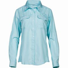 Shimano Women's Vented Long Sleeve Shirt Aqua 8, Aqua, bcf_hi-res