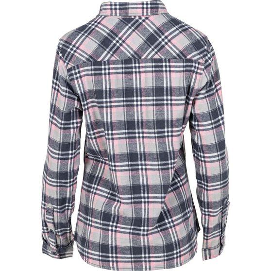 OUTRAK Women's Yarn Dye Flannel Shirt Grey / Pink 8, Grey / Pink, bcf_hi-res