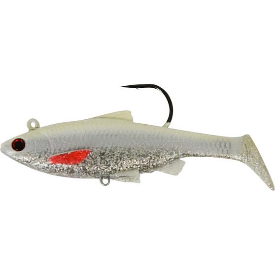 Savage Swim Mullet Soft Plastic Lure 10cm White Silver 10cm, White Silver, bcf_hi-res