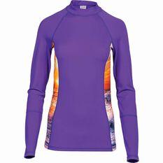 OUTRAK Women's Long Sleeve Rashie Purple 8, Purple, bcf_hi-res