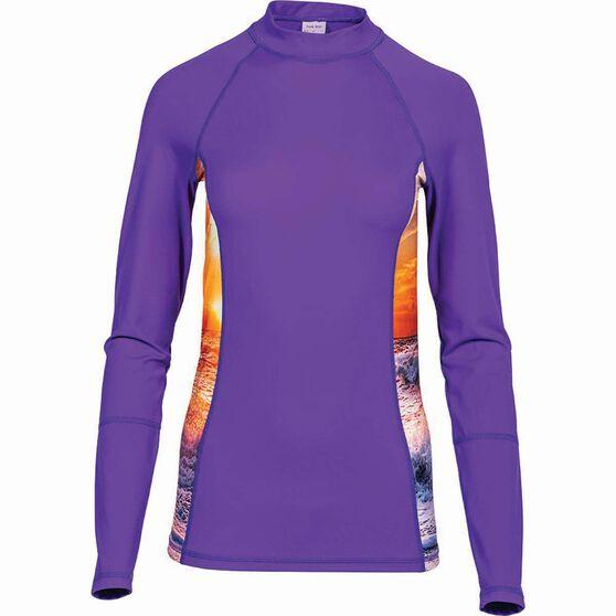 OUTRAK Women's Long Sleeve Rashie, Purple, bcf_hi-res