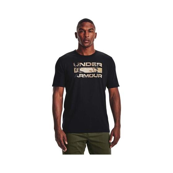 Under Armour Men's Stacked Logo Fill Tee, Black / Barren Camo, bcf_hi-res