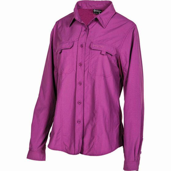 Outdoor Expedition Women's Vented Long Sleeve Shirt Holly 14, Holly, bcf_hi-res