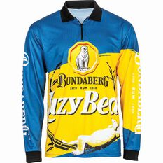 Bundaberg Rum Men's Lazy Bear Sublimated Polo Blue S, Blue, bcf_hi-res