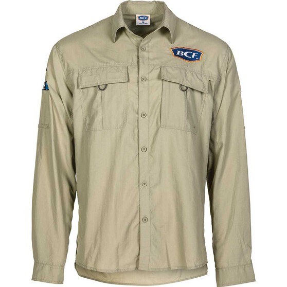 BCF Men's Long Sleeve Fishing Shirt Silt XL, Silt, bcf_hi-res