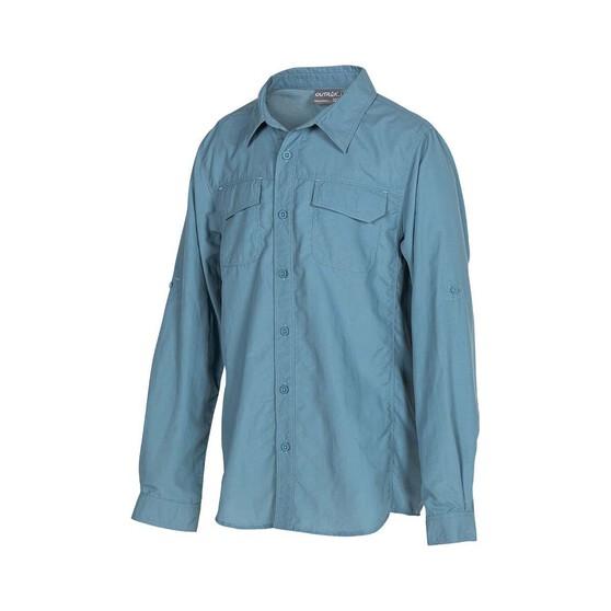 OUTRAK Kids' Long Sleeve Hiking Shirt, Blue, bcf_hi-res