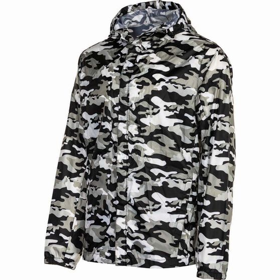 OUTRAK Printed Packaway Rain Jacket, Black Camo, bcf_hi-res