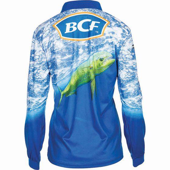BCF Women's Mahi Sublimated Polo Blue 18, Blue, bcf_hi-res