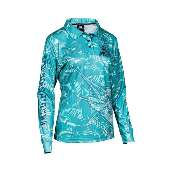 The Mad Hueys Women's Camo Fishing Jersey, Teal, bcf_hi-res