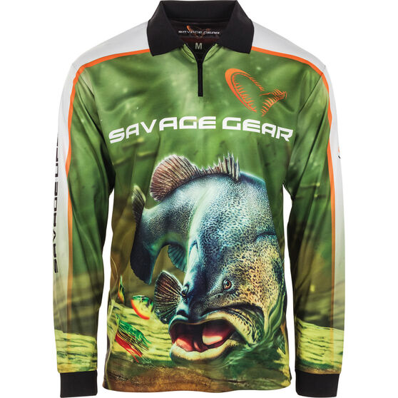 Savage Men's Murray Cod Sublimated Polo Green XL, Green, bcf_hi-res
