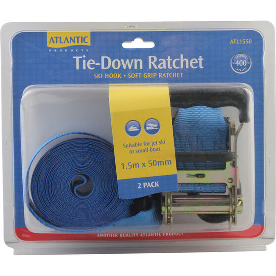 Atlantic Tie Down Ratchet Kit 1.5m x 50mm Pair, , bcf_hi-res