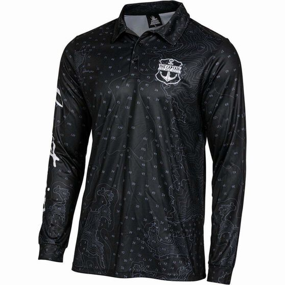 The Mad Hueys Men's Captain Map Fishing Jersey, Black, bcf_hi-res