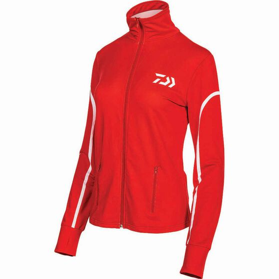 Daiwa Women's Stretch Zip Sublimated Polo Coral 8, Coral, bcf_hi-res