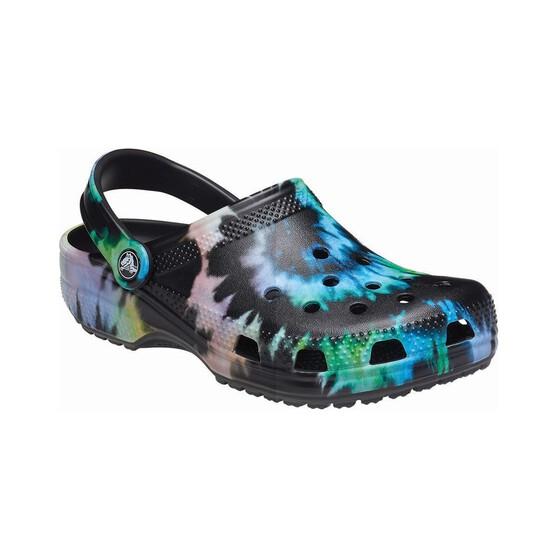 Crocs Men's Tie Dye Classic Clog, Black / Multi, bcf_hi-res