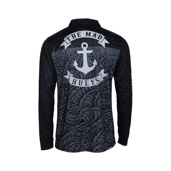 The Mad Hueys Men's Anchor Dark Sea Fishing Jersey, Black, bcf_hi-res
