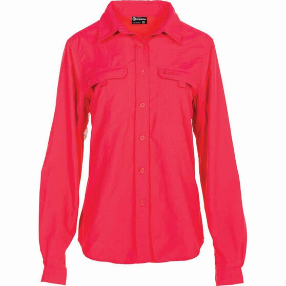Outdoor Expedition Women's Vented Long Sleeve Fishing Shirt 10 Pop Pink 10, Pop Pink, bcf_hi-res