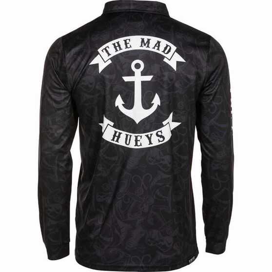 The Mad Hueys Men's Stealth Anchor UV Fishing Jersey, Black, bcf_hi-res