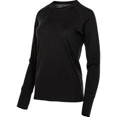 OUTRAK Women's Merino Long Sleeve Top Black 8, Black, bcf_hi-res