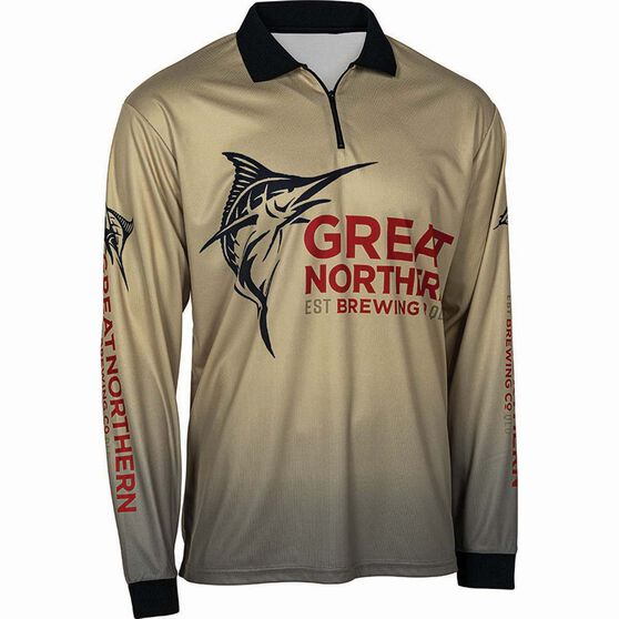 The Great Northern Brewing Co Men's Logo Sublimated Polo, Sand, bcf_hi-res