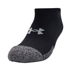 Under Armour Men's HeatGear No Show Socks 3 Pack, Black, bcf_hi-res