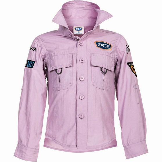 BCF Kids' Long Sleeve Fishing Shirt Orchid 14, Orchid, bcf_hi-res
