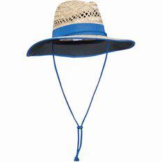 Kids' Straw Hat Natural / Black 52cm, Natural / Black, bcf_hi-res