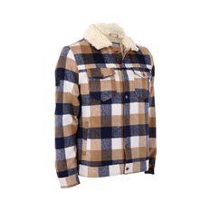 Tradie Men's Back Beach Jacket, Wheat / Ink Check, bcf_hi-res