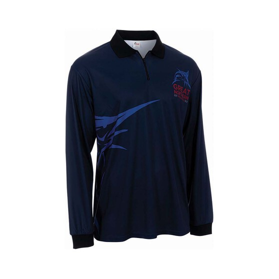 The Great Northern Brewing Co. Mens Zero Sublimated Polo, Navy, bcf_hi-res