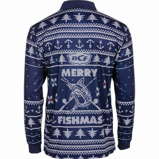 BCF Men's Fishmas Sublimated Polo Navy L, Navy, bcf_hi-res