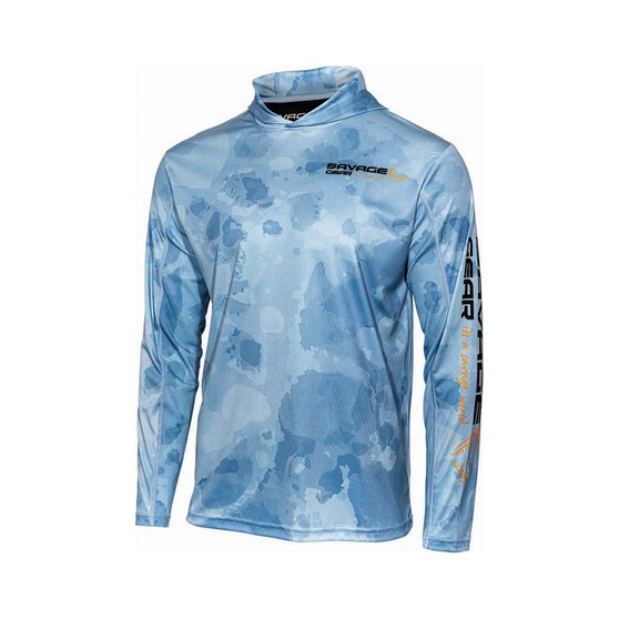 Savage  Men's Long Sleeve Hooded Sublimated Polo, Blue, bcf_hi-res