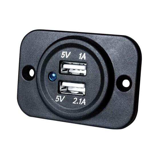 KT Cables 1A - 2.1A 12v Dual USB LED Socket, , bcf_hi-res