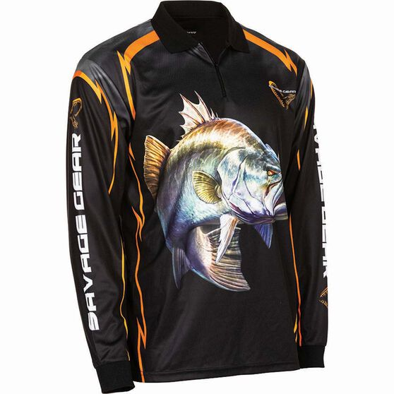 Savage Men's Barra Sublimated Polo Black L, Black, bcf_hi-res